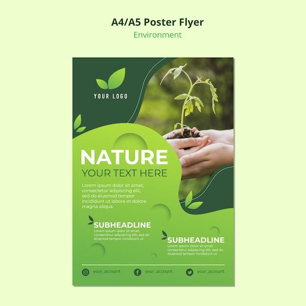 Medio ambiente para plantilla de póster PSD gratuito