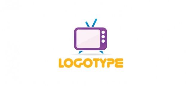 Medios de comunicación libres plantilla de logotipo con un televisor retro PSD gratuito