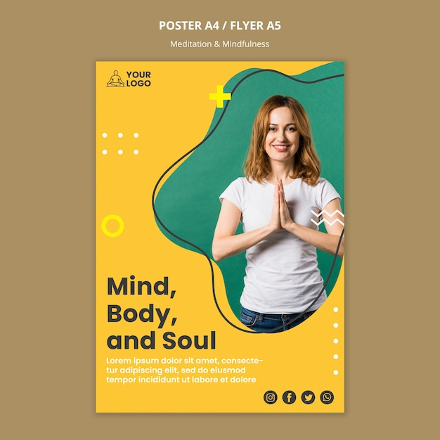 Meditatie & mindfulness poster sjabloon Gratis Psd