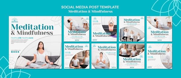 Meditatie social media postsjabloon Gratis Psd