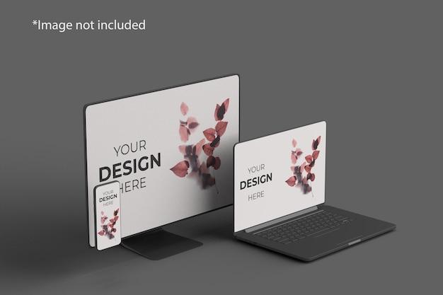 Meerdere apparaten mockup linkerhoekweergave Premium Psd