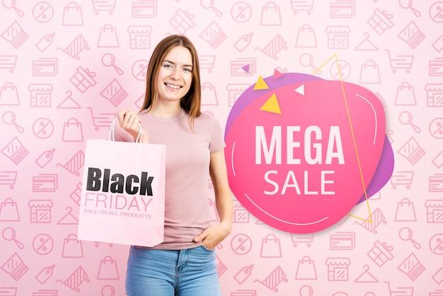 Megsa verkoop banner met mooie vrouw Gratis Psd