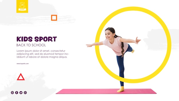 Meisje balanceren voor kinderen sport sjabloon Gratis Psd