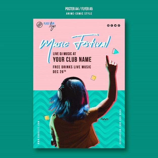 Meisje luisteren naar muziekfestival poster sjabloon Premium Psd