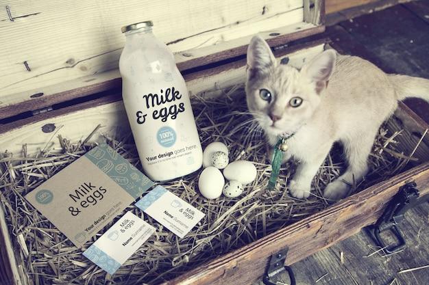 Melk en eieren in houten kist mockup Premium Psd