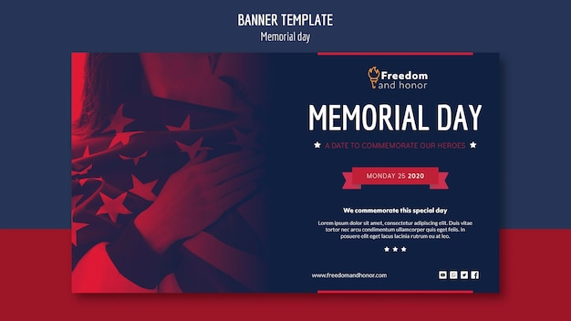Memorial day banner concept Gratis Psd