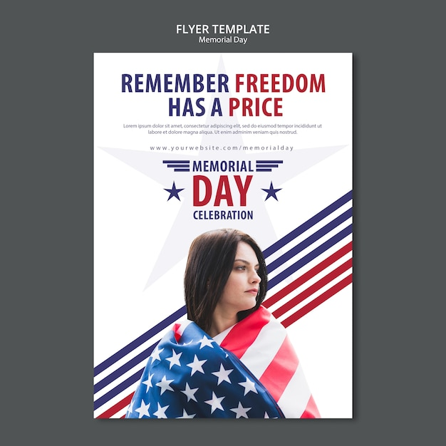 Memorial day concept flyer sjabloon Gratis Psd