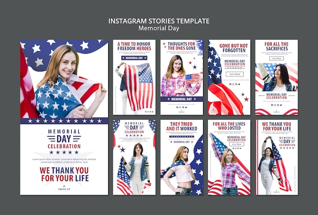 Memorial day concept instagram verhalen sjabloon Gratis Psd