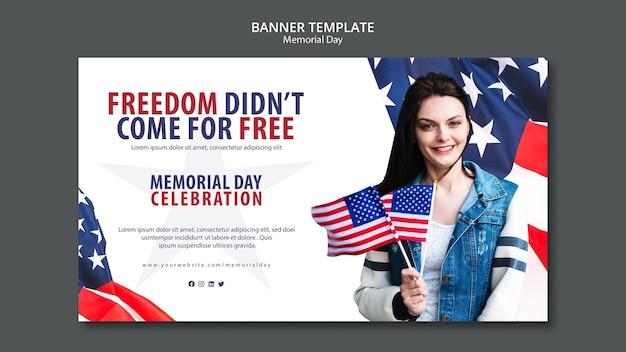 Memorial day concept sjabloon voor spandoek Gratis Psd