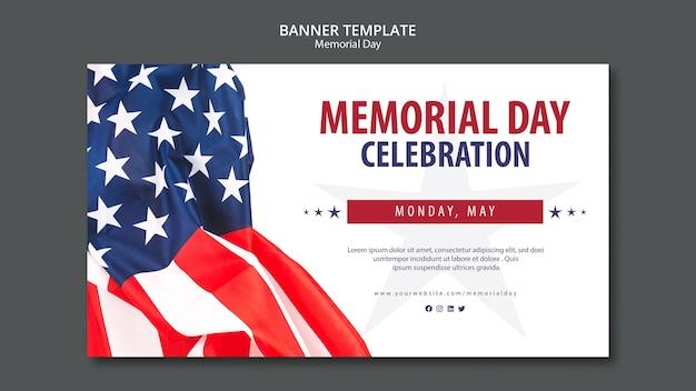 Memorial day concept sjabloon Premium Psd