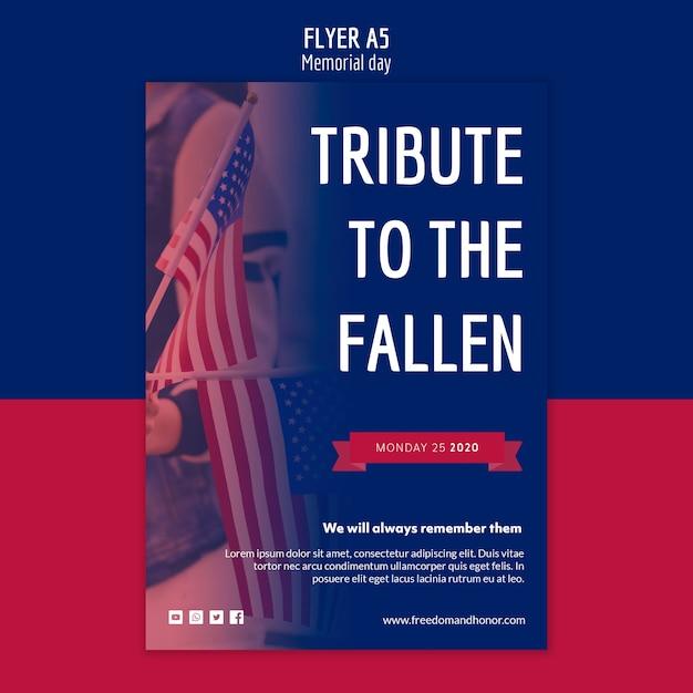 Memorial day flyer sjabloon concept Gratis Psd