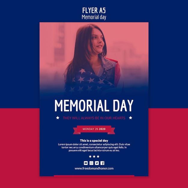 Memorial day flyer-sjabloon Gratis Psd