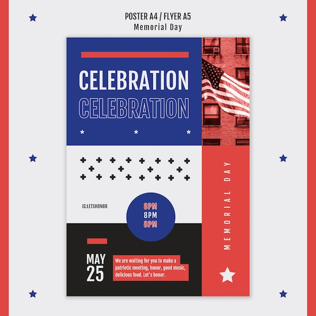 Memorial day poster sjabloon Gratis Psd