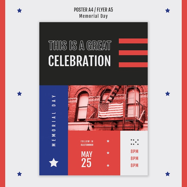 Memorial day poster sjabloon Gratis Psd