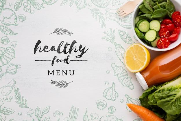 Menú de alimentos frescos y saludables para la dieta. PSD gratuito