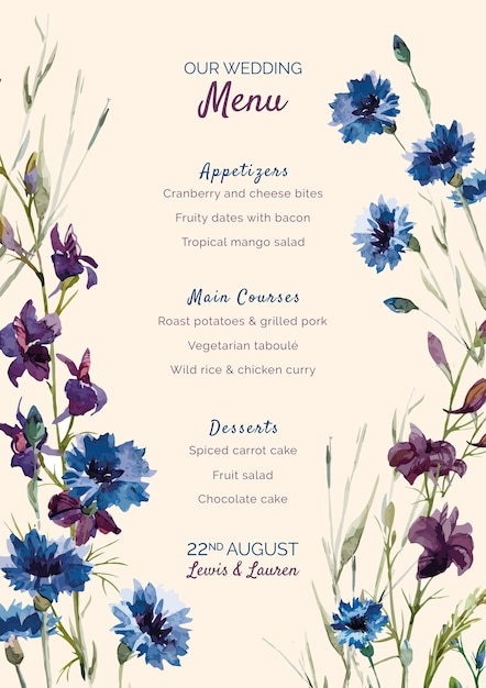 Menú de bodas con flores moradas y azules PSD gratuito