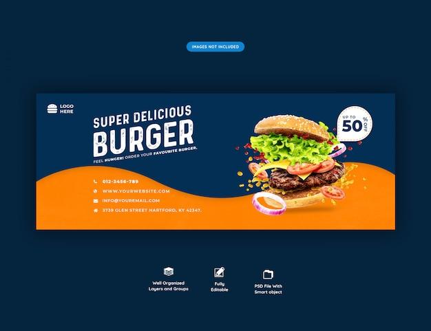 Menu cibo e ristorante modello di copertina facebook premium psd Psd Premium