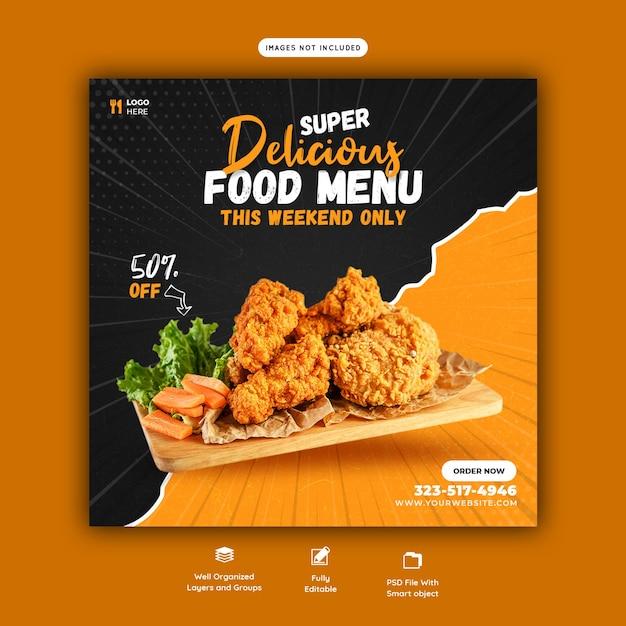 Menú de comida y plantilla de publicación de redes sociales de restaurante PSD gratuito
