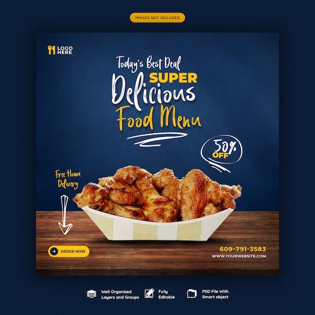 Menú de comida y restaurante plantilla de banner de redes sociales PSD Premium