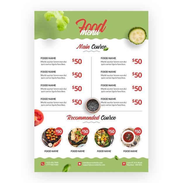Menú de comida sana y bio PSD gratuito