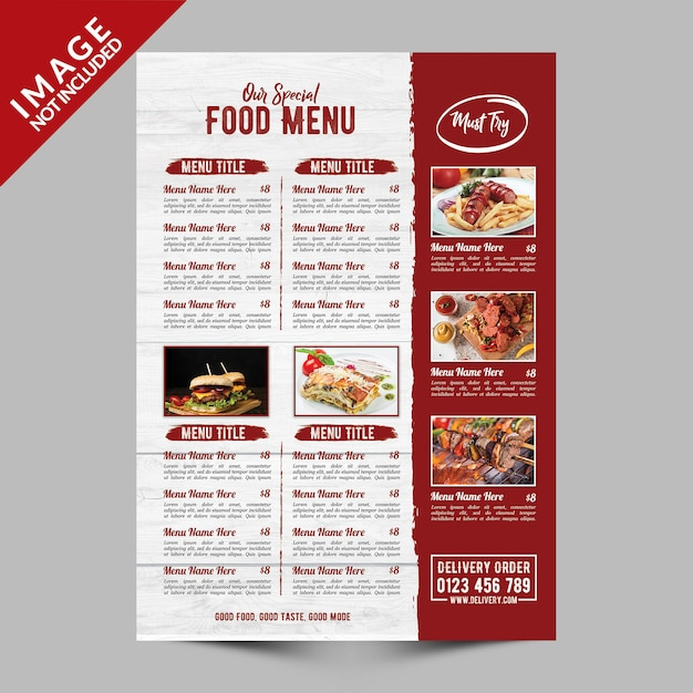 Menu del cibo speciale del ristorante Psd Premium