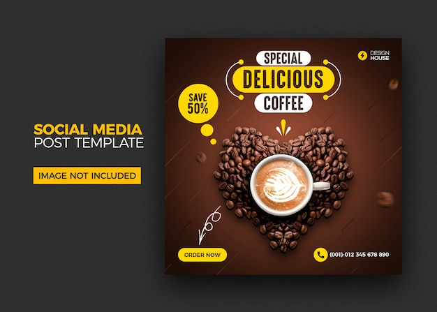 Menu dell'alimento e modello di post social media caffè caffè Psd Premium