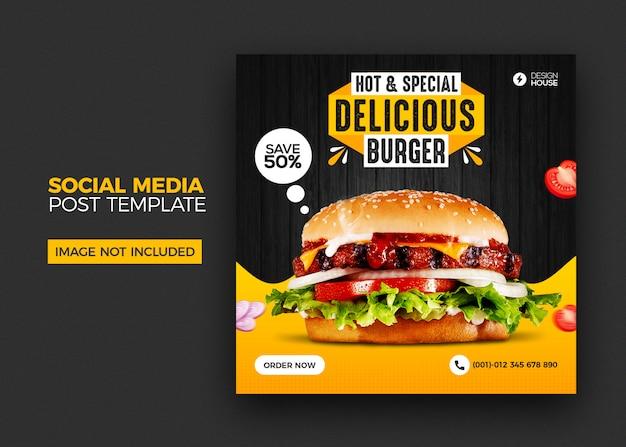 Menu dell'alimento e modello di post social media hamburger ristorante Psd Premium
