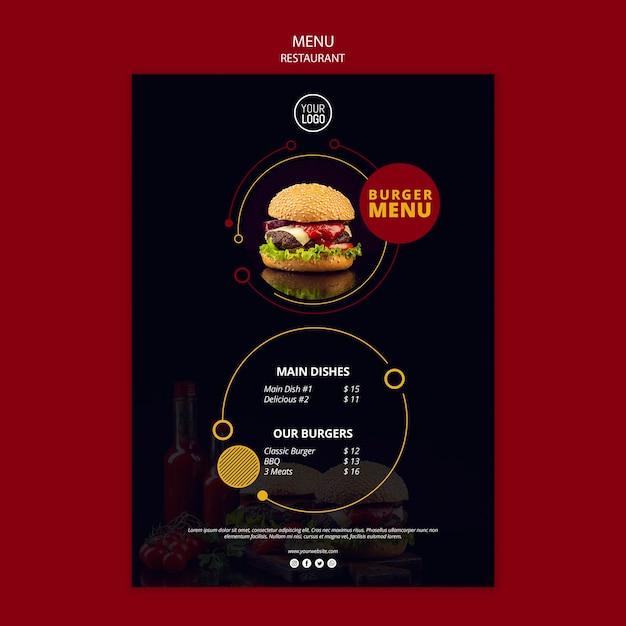 Menu design per ristorante Psd Gratuite