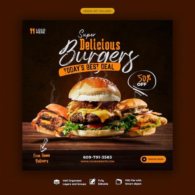 Menu di cibo e modello di banner social media hamburger delizioso Psd Premium