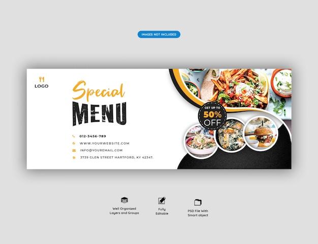 Menu di cibo e modello di copertina facebook ristorante Psd Premium