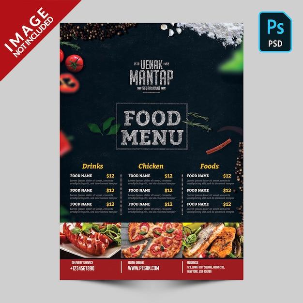 Menu di cibo scuro con immagini di cibo lato anteriore Psd Premium