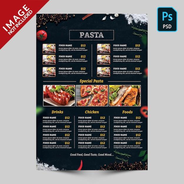 Menu di cibo scuro con immagini di cibo Psd Premium