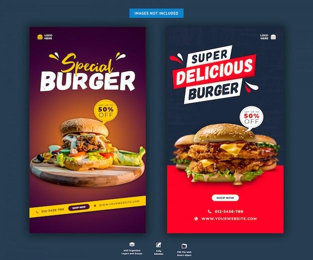 Menu di hamburger o fast food social media o modello di storie di instagram Psd Premium