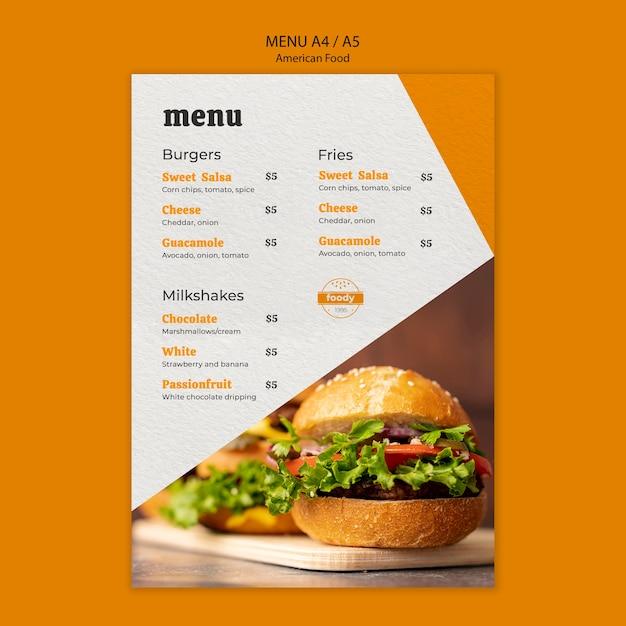Menú de hamburguesas con queso y verduras saludables PSD gratuito
