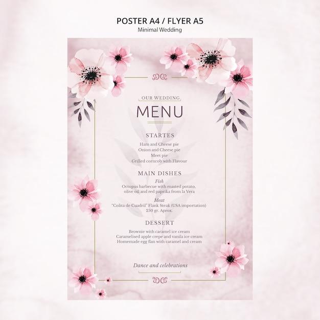 Menú de póster de boda mínimo PSD gratuito