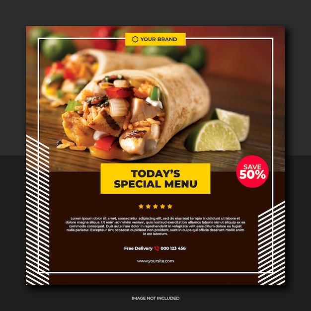 Menu speciale giornaliero per i social media dei ristoranti Psd Premium