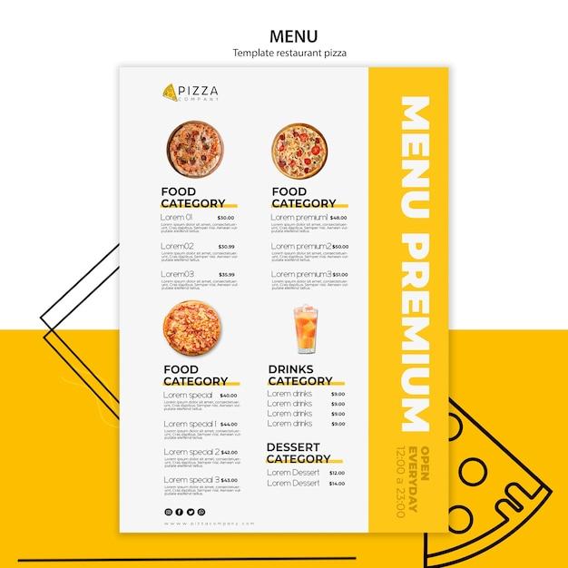 Menusjabloon voor pizzarestaurant Gratis Psd
