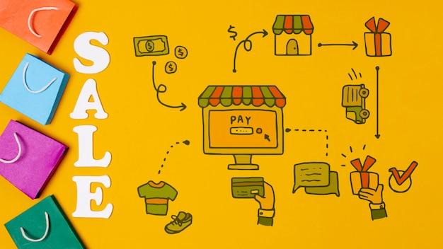 Mercado minorista con venta de texto y bolsas de papel PSD gratuito