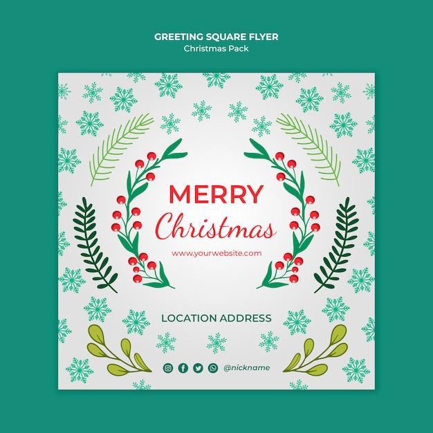 Merry christmas flyer met decoraties Gratis Psd