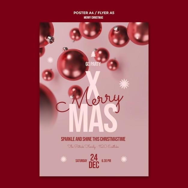 Merry christmas flyer-sjabloon Gratis Psd