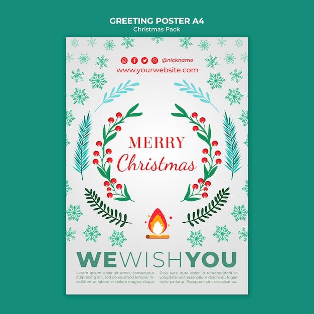 Merry christmas greeting voor vakantie Gratis Psd