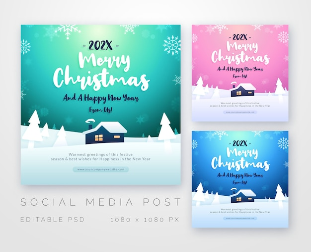 Merry christmas greetings for social media template Premium Psd
