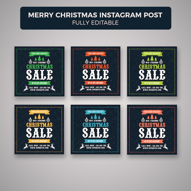 Merry christmas instagram sjabloon voor spandoek Premium Psd