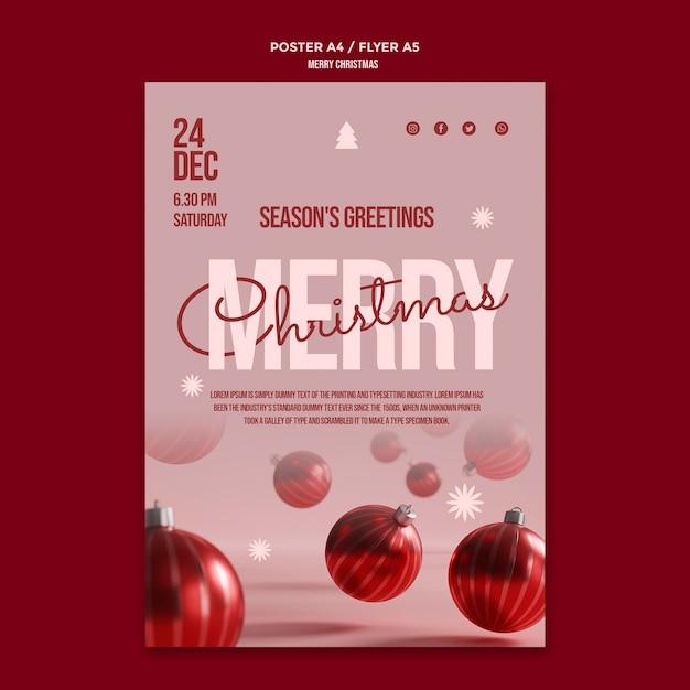 Merry christmas party poster met bollen Gratis Psd