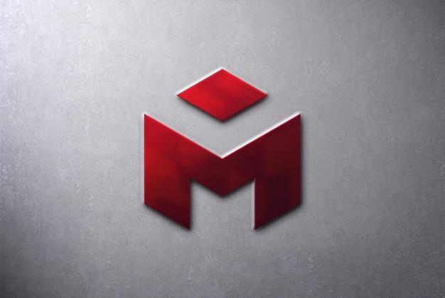 Metalen 3d logo mockup op muur Premium Psd