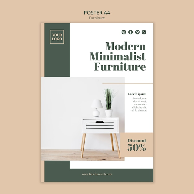 Meubels concept poster sjabloon Premium Psd
