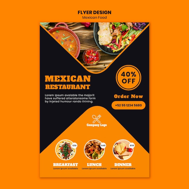 Mexicaans eten folder sjabloon Gratis Psd