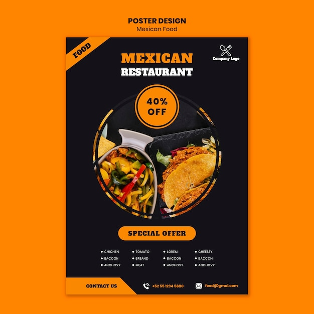 Mexicaans eten poster sjabloon Gratis Psd