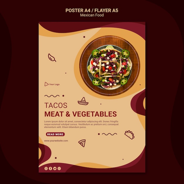 Mexicaans restaurant folder sjabloon Gratis Psd