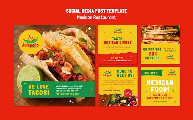 Mexicaans restaurant op sociale media Gratis Psd